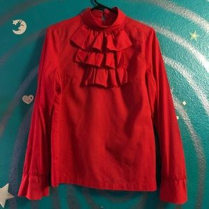 60's/70's Red Ruffle Blouse M